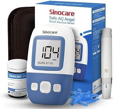 sinocare Medidor de glucosa en sangre kit/Control de la diabetes kit con codefree tiras x 25 y caja para diabéticos - en mg/dL (Safe AQ Angel): Amazon.es: Salud y cuidado personal
