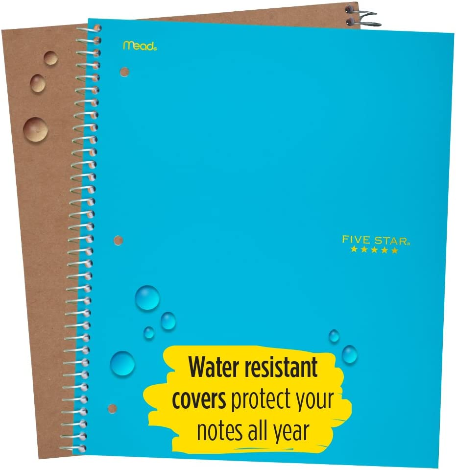 06190AA4 Five Star Spiral Notebook 1 Subject 100 Sheets Graph Ruled Paper 11 x 8-1//2 Teal