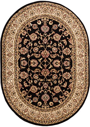 Noble Sarouk Black Oriental 4 Oval (3'11'' x 5'9'' Oval) Area Rug Traditional Persian Floral (Black Oval Rug)