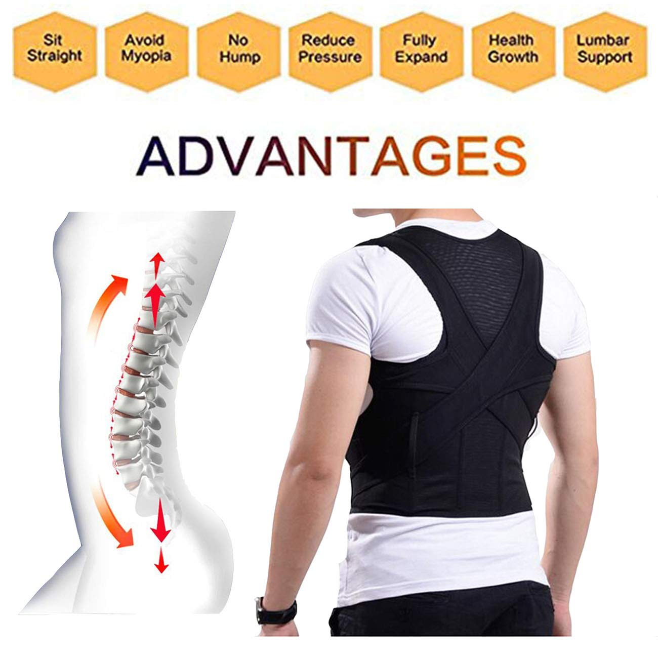 Hunchback Correction Clothes,Posture Corrector,Shoulder Brace,Effective and Comfortable,Upper and Lower Back Pain Relief. (XXL)