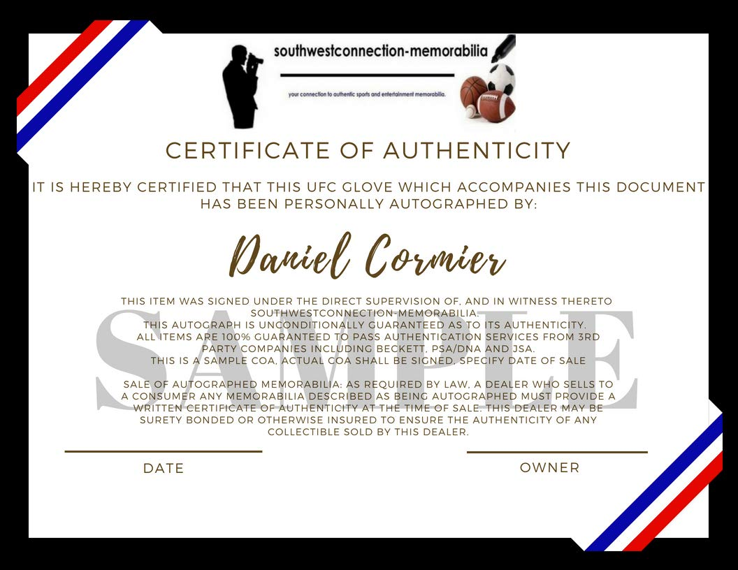 UFC Light Heavyweight Champion Daniel Cormier Autographed Hand Signed UFC Glove with Proof Photo of Signing, MMA, Summer Olympics, Team USA, COA Ultimate Fighting Championship Collectibles