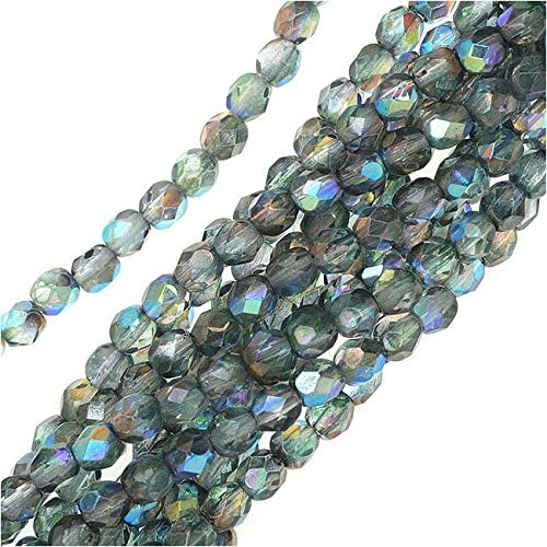50 Two Toned Blue and Crystal Clear 4mm Round Czech Glass Fire Polished Beads