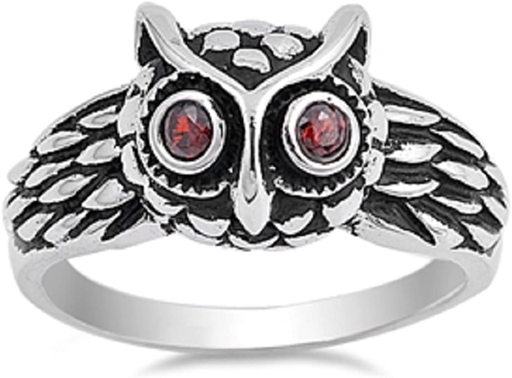 CloseoutWarehouse Simulated Garnet Cubic Zirconia Cute Owl Designer Ring Sterling Silver