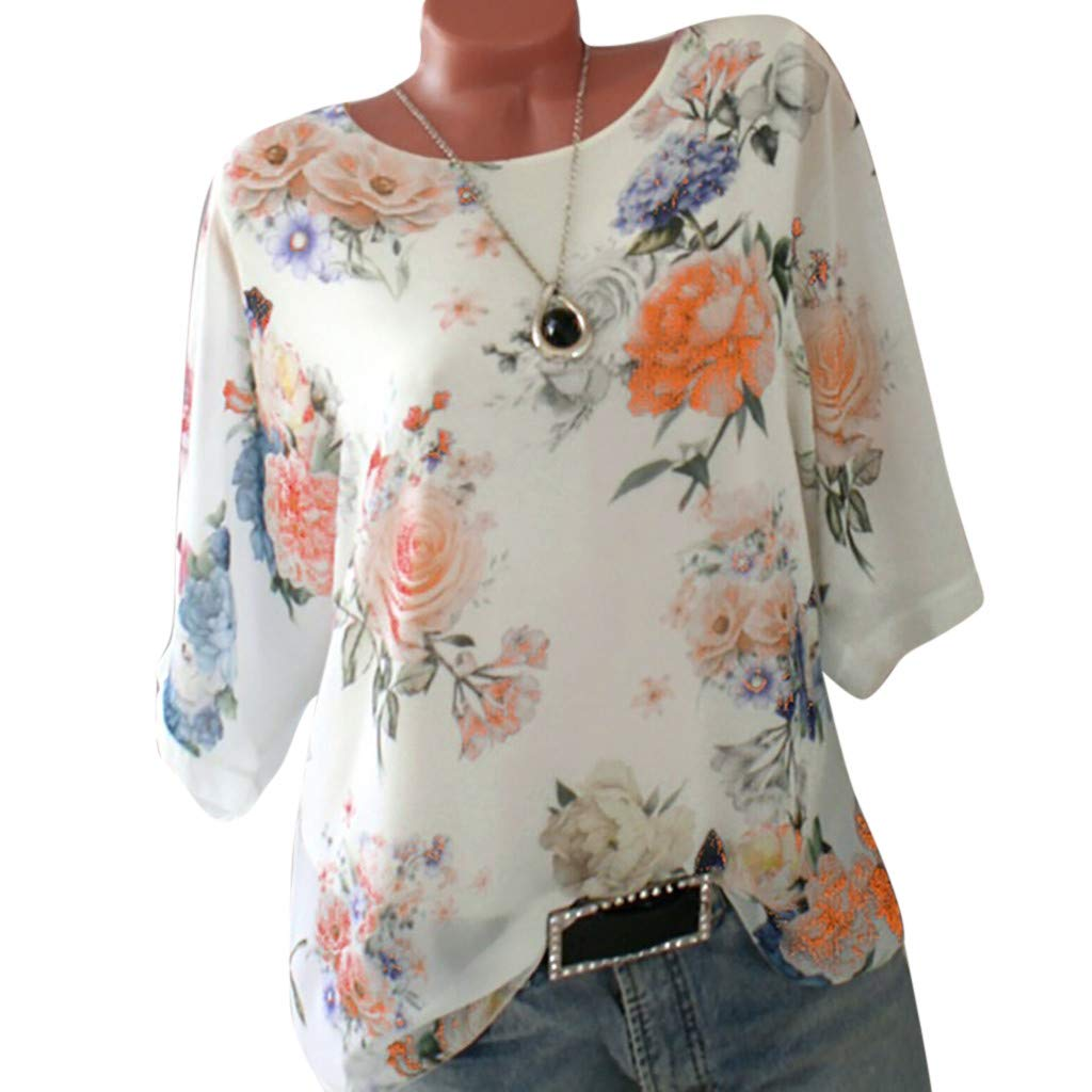 Short Sleeve Tee Blouse for Women,Amiley Womens Floral Print Half Short Sleeve T Shirts Blouses Comfy Casual Tops S-5XL (X-Large, Yellow) by Amiley Womens Short Sleeve Tops (Image #2)