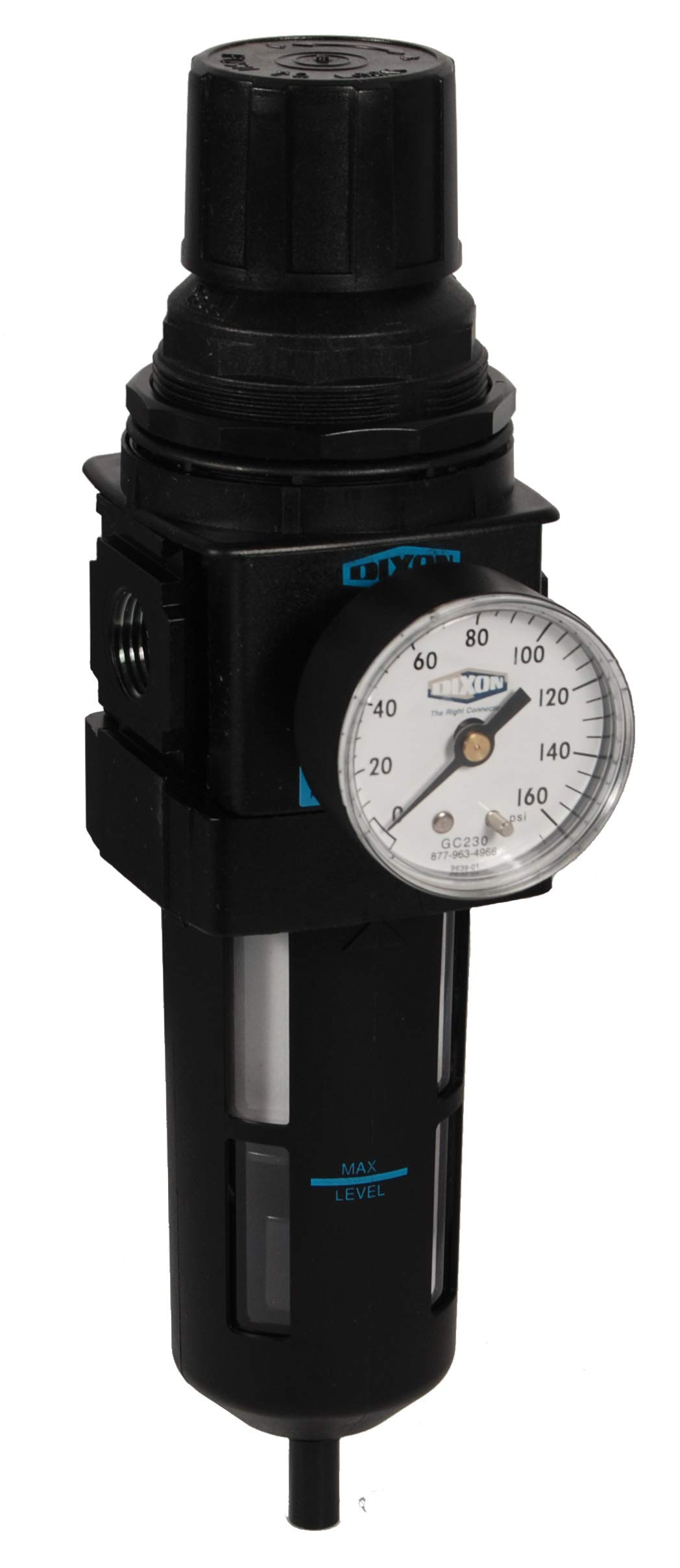 Dixon B28-06MG Manual Drain Wilkerson Standard Filter/Regulator with Transparent Bowl and Guard, 3/4'' Size, 175 SCFM Flow, 150 psig Pressure by Dixon Valve & Coupling