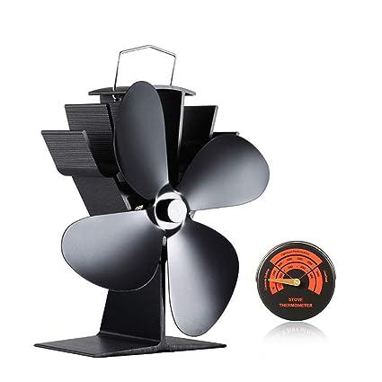Eco Friendly Silent - Ventilador de estufa con 4 cuchillas para leña, quemador de tronco