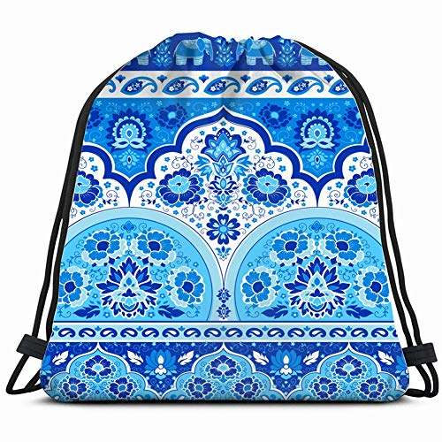 indian rug paisley ornament pattern ethnic Gym Sack Bag Drawstring Sport Beach Travel Outdoor Backpack for Women 17X14 Inch