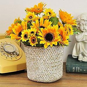 Artificial Fake Flowers 4 Pcs 6 Head Sunflowers Arrangement Home Wedding Outdoor Festive Party Decor UV Resistant Plants Shrubs Greenery for Window Box Patio Yard Indoor Garden Office Decor 3