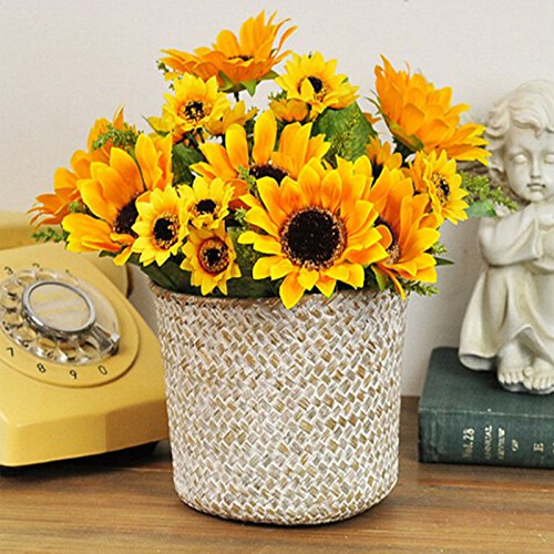 Artificial-Fake-Flowers-4-Pcs-6-Head-Sunflowers-Arrangement-Home-Wedding-Outdoor-Festive-Party-Decor-UV-Resistant-Plants-Shrubs-Greenery-for-Window-Box-Patio-Yard-Indoor-Garden-Office-Decor