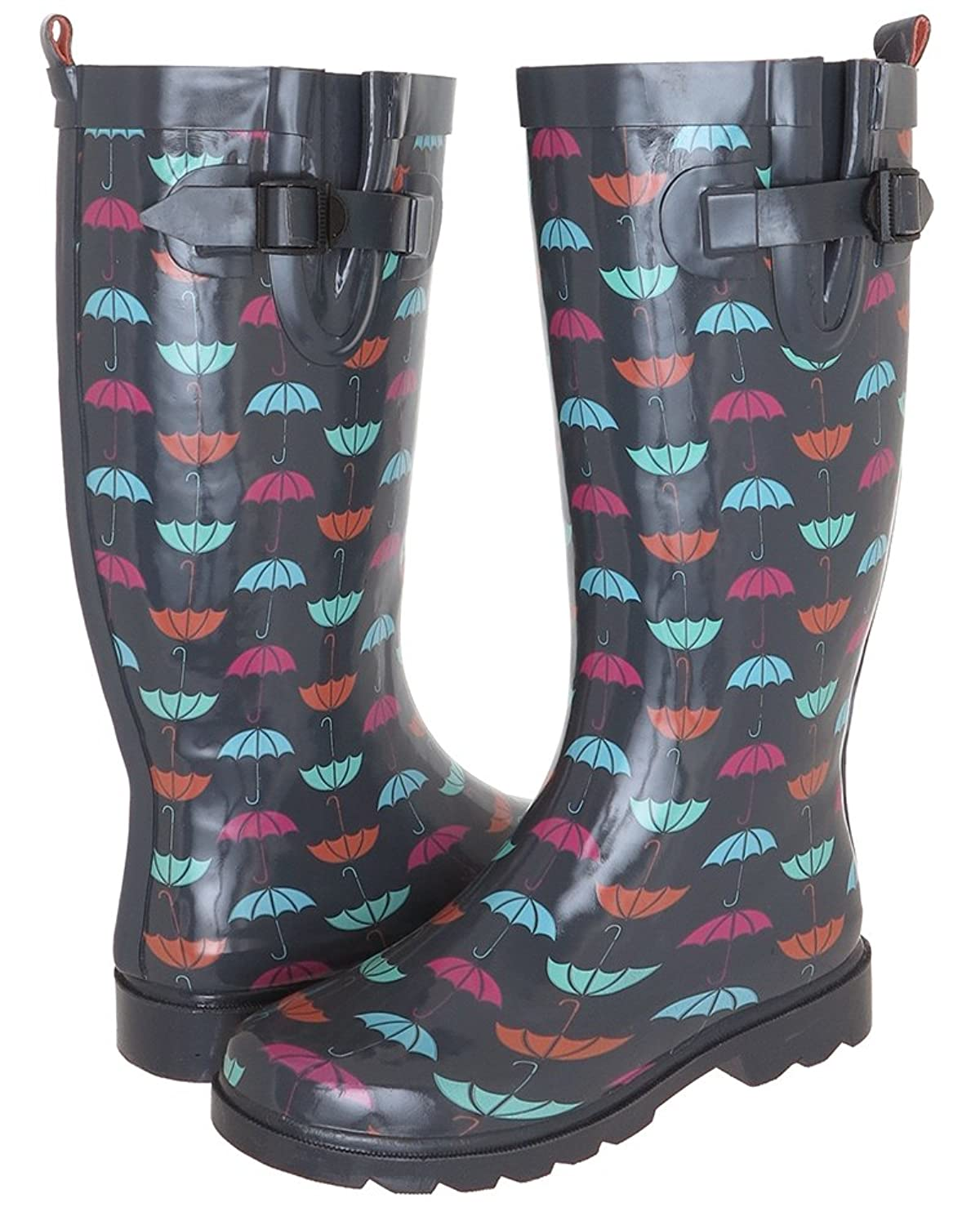 Two Color Pebble Pattern Printed Ladies Tall Rubber Rain Boot
