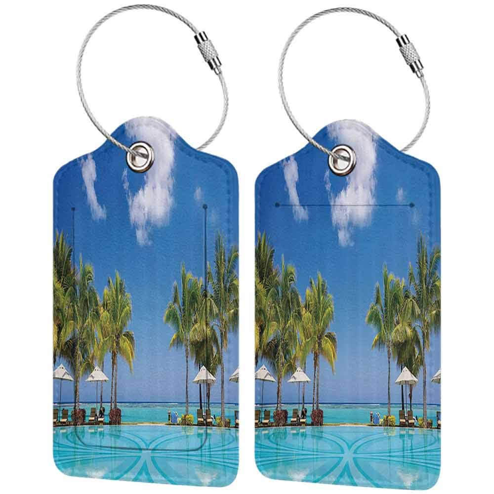 Decorative luggage tag Coastal Decor Collection Tropical Beach Resort in Mauritius Swimming Pool and Sunbeds Coconut Palm Trees Picture Suitable for travel Blue Turquoise Green W2.7 x L4.6
