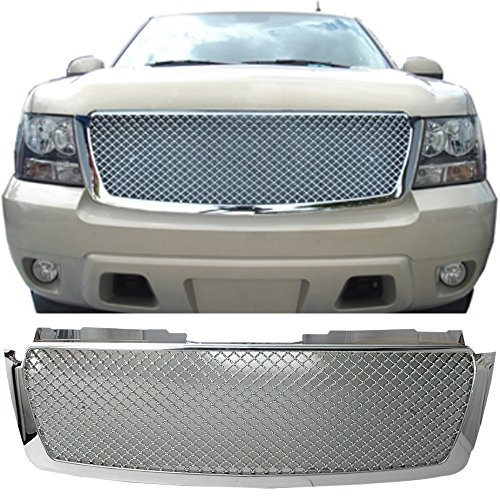 Chrome Mesh Bentley Grille (07-10 Chevy Tahoe Suburban Avalanche Bentley Style Mesh Front Hood Grille Chrome)