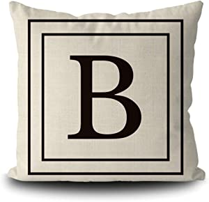 SVITFAMLI Burlap Pillow Cover with Black Letter Monogram B and Stripes English Alphabet Initial Decorative Square Linen Throw Cushion Case for Sofa Couch 16 x 16 Inch Pillowcase, Double Sided Print