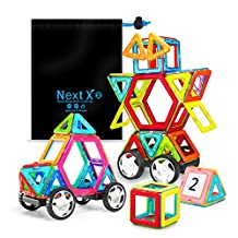 NextX 46 pieces Magnetic Tiles Building blocks Construction Stack with Car wheel Toy Set,Kid's Birthday Gift Idea