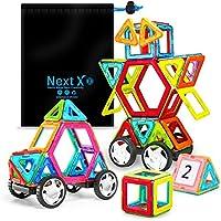 NextX Pädagogische Bausteine Sets, Magnetische Bauklötze Magnetspielzeug Weihnachtsgeschenk für Jungen und Mädchen ab 3 Jahren (46-Stück)