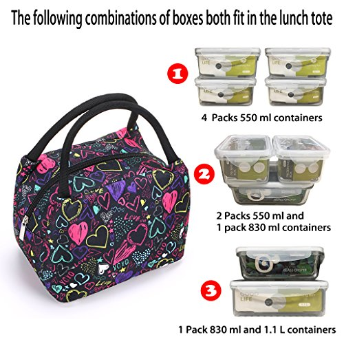 Sumnacon Insulated Lunch Bag, Reusable Portable Leakproof Lunch Box Tote Cooler Bag for Men Women Girls Kids for Work,School,Picnic(Heart Pattern) by Sumnacon (Image #2)