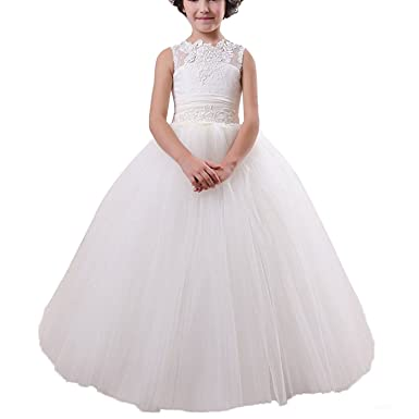 4898a2e4118 CEZOM White Ivory Lace Toddler Infant Baby Flower Girl Dresses for Wedding  Pageant Dress