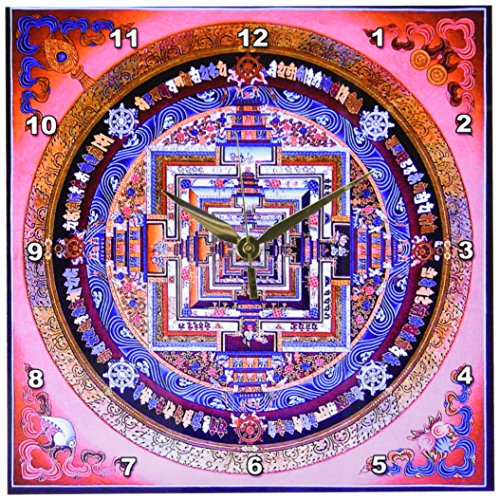 3dRose dpp_53887_1 Mandala Pattern Ancient Design in Pinks,Purples Beautiful-Wall Clock, 10 by 10-Inch