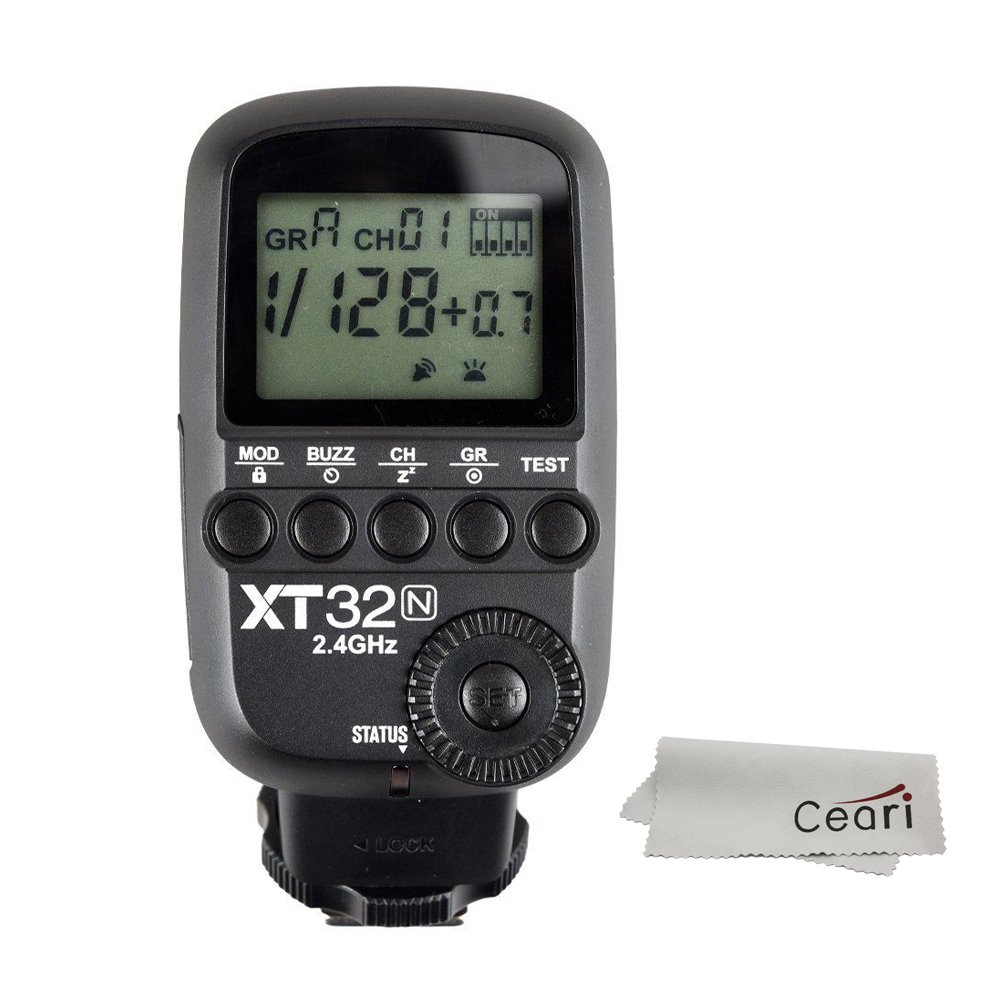 Godox XT32-N 2.4G Wireless 1/8000s High-speed Sync Flash Trigger Transmitter for Nikon DSLR Camera with MicroFiber Cloth