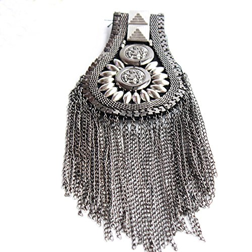 Blazer Epaulet / Kpop Fringed / Tassel Metal Punk Shoulder Epaulette / Dpikes Brooch Women Men Suit Accessories by The Pair (Gun) (Applique Epaulet)