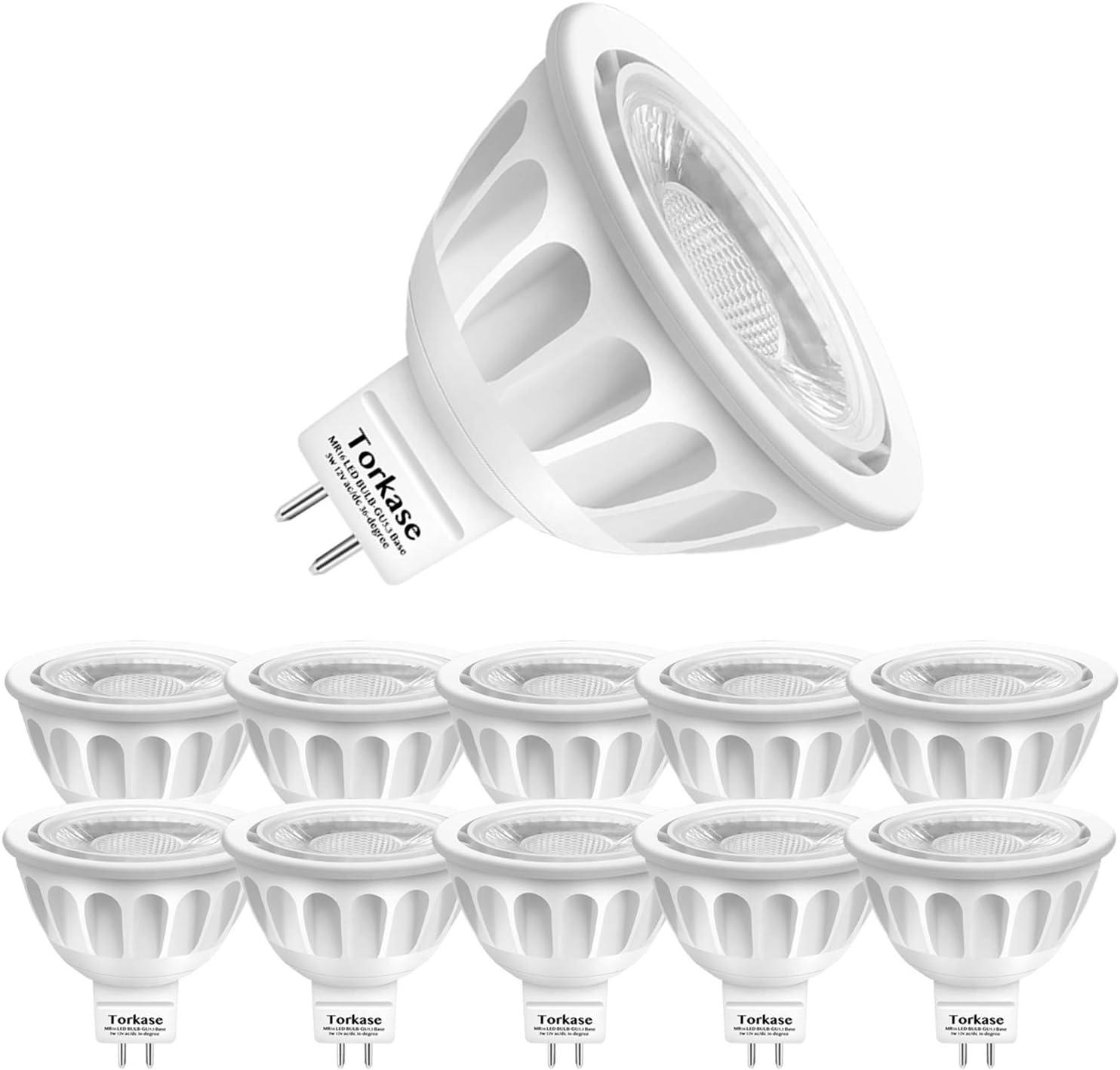10-Pack MR16 LED Light Bulb, 12-Volt, GU5.3 Bi-Pin Base, 36-Degree Spot Light, 5-Watt (50-Watt Equivalent), 450-Lumen, Non-Dimmable, 3000-Kelvin Warm White Landscape Lighting Bulbs by Torkase