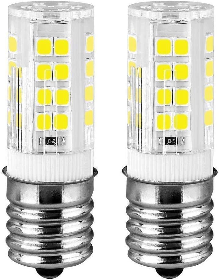 E17 LED Microwave Oven Stove Bulb, 40W Incandescent Equivalent, AC 110V-130V, Daylight White Appliance Bulb (6000K, 2-Pack) (Daylight White)