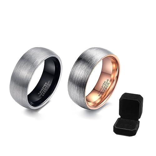 Tungsteno Anillo de boda banda, banda de boda para hombre carburo de tungsteno negro anillo mate anillos de boda 6 mm: Amazon.es: Joyería