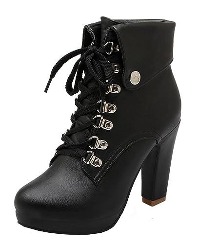 64530d3cf4aaf4 YE Damen Blockabsatz Plateau High Heel Stiefeletten mit Schnürung und  Nieten Elegant Herbst Winter Schuhe Short