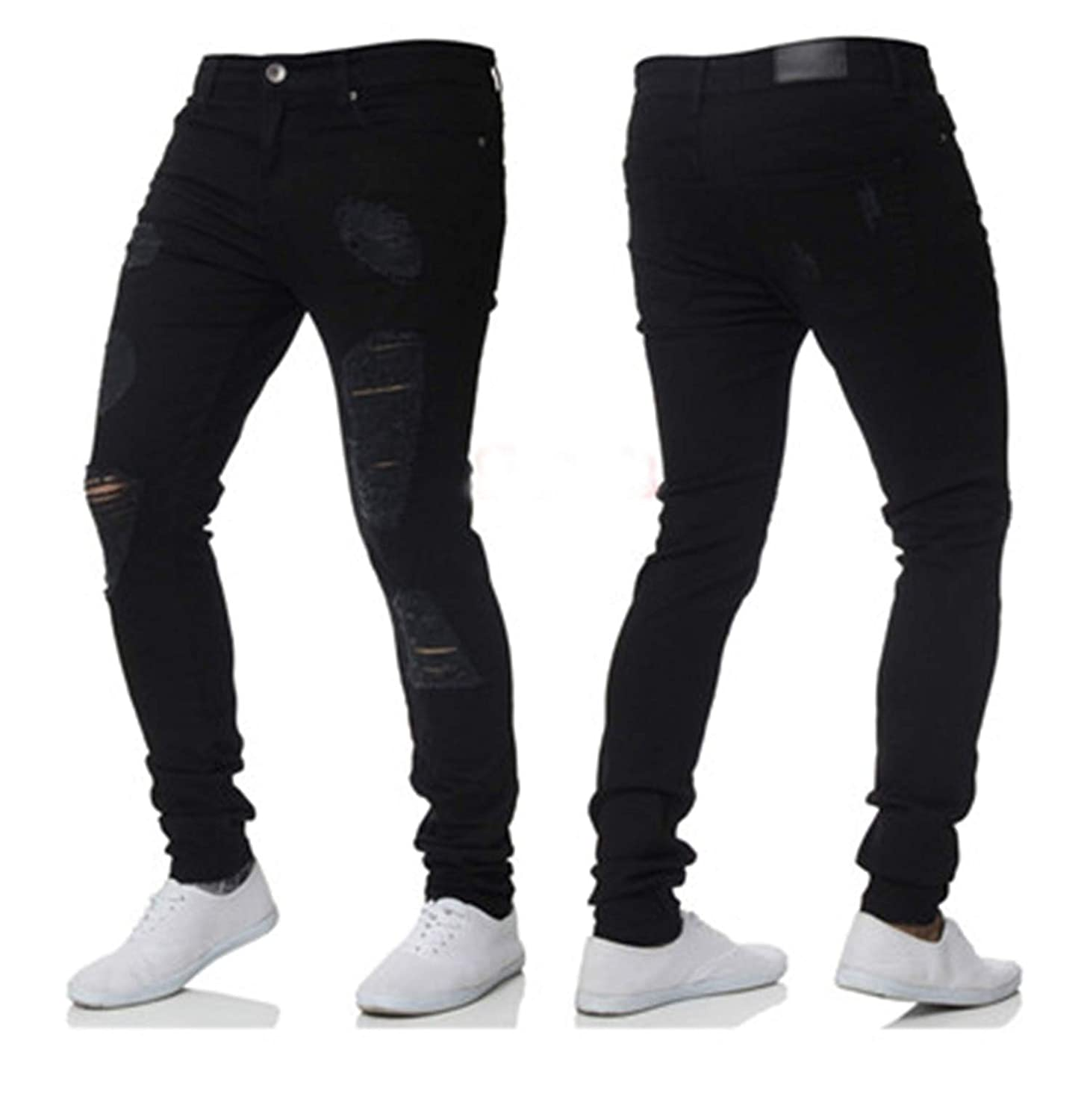 George Gouge Skinny Jeans Pants Stretch Destroyed Ripped ...