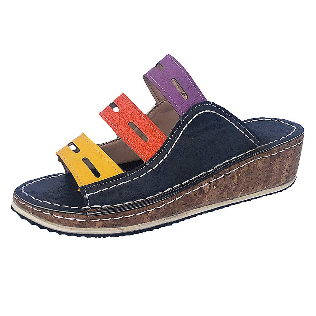Sonmer Women's Mixed Color Slip On Wedges Sandals Fashion Casual Slipper Shoes (Blue, 5 M US)