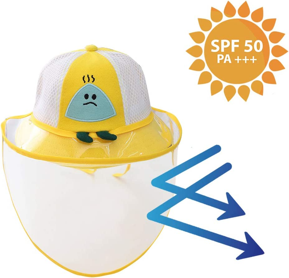 Bucket Sun Hat Baby Boys Girls Sunhat Breathable Cotton Mesh Fisherman Hat with Removeable Face Visor UV Protective Hat with 3D Lovely Cartoon Giraffe Blue
