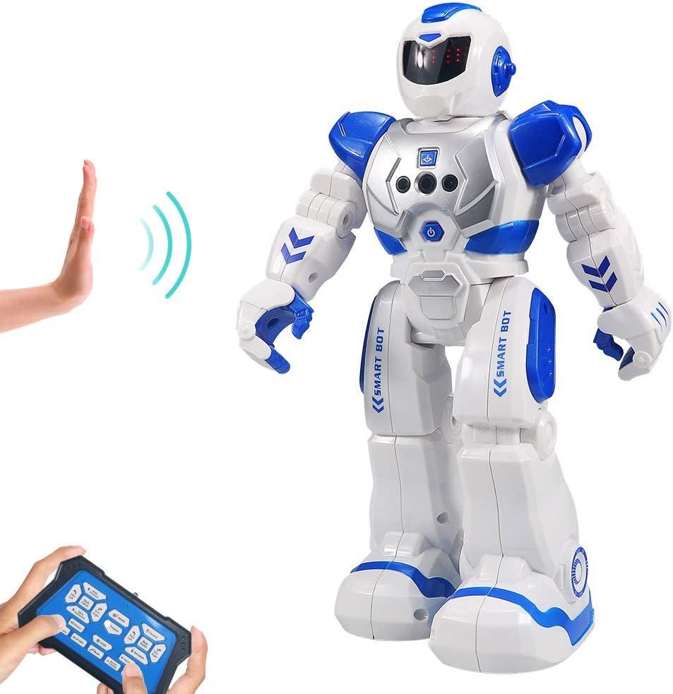 HUSAN Infantil Robot de Control Remoto niños, Robot de Baile Inteligente con Juguetes Control infrarrojo,programable,Ojos LED, Canto Caminando Regalo,Kit de Robot(Azul)