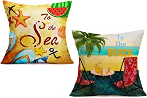 "Xihomeli 2Pack Summer Ocean Beach Throw Pillow Covers to The Sea/Beach Quote Pillow Cases Tropical Palm Tree and Seashell Cushion Covers Cotton Linen Outdoor Pillow Cover 18""x18""(2ps sea Beach)"