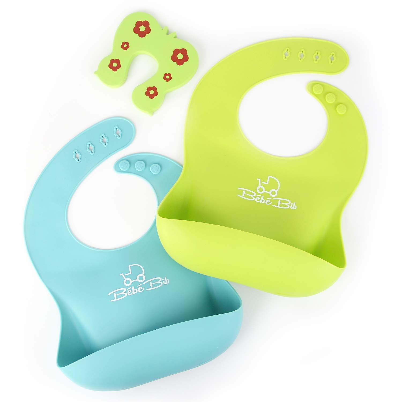 impermeable de silicona-babero babylätzchen 2er bebé Pack de silicona babero