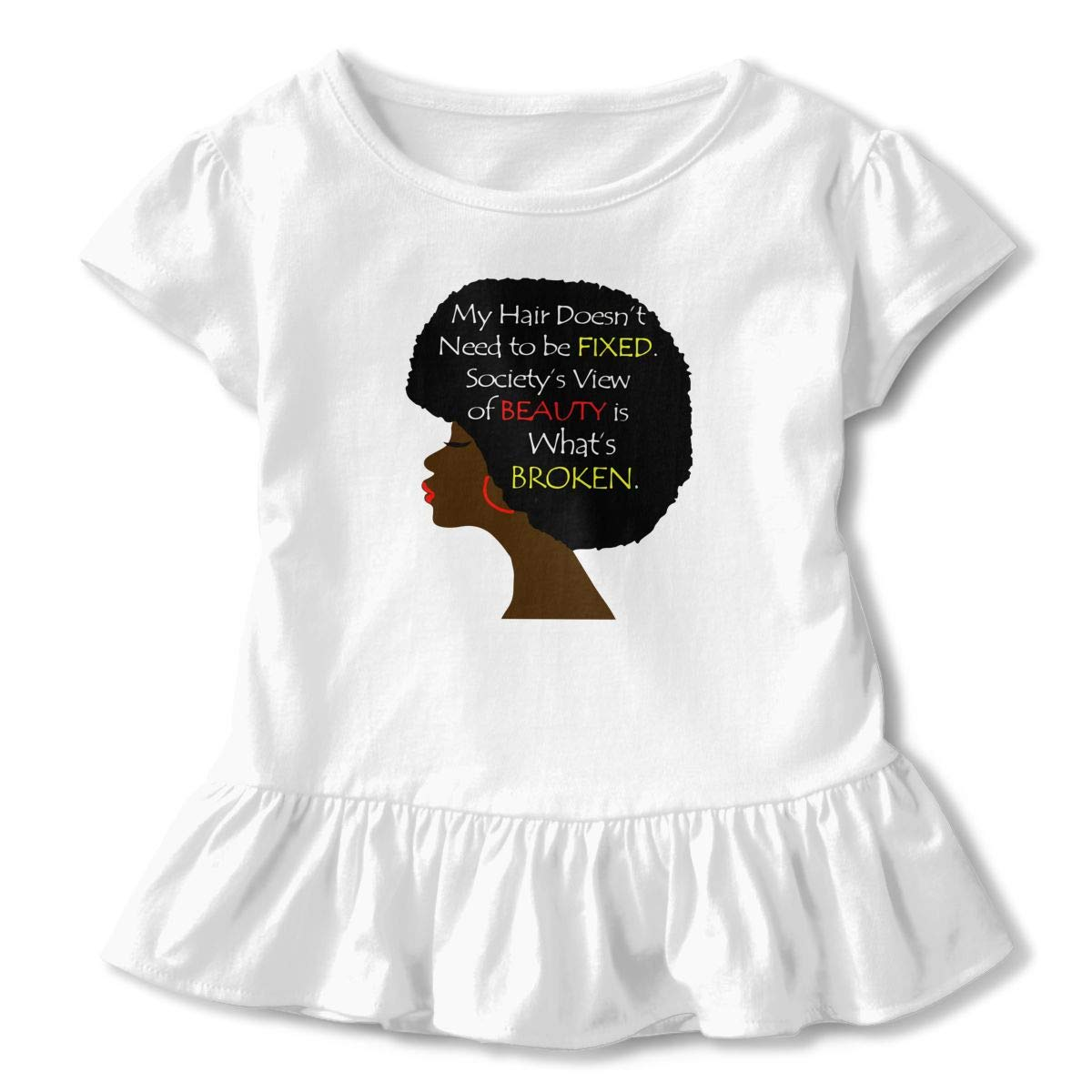 African Woman Word Art Natural Hair Toddler Baby Girls Short Sleeve Ruffle T-Shirt