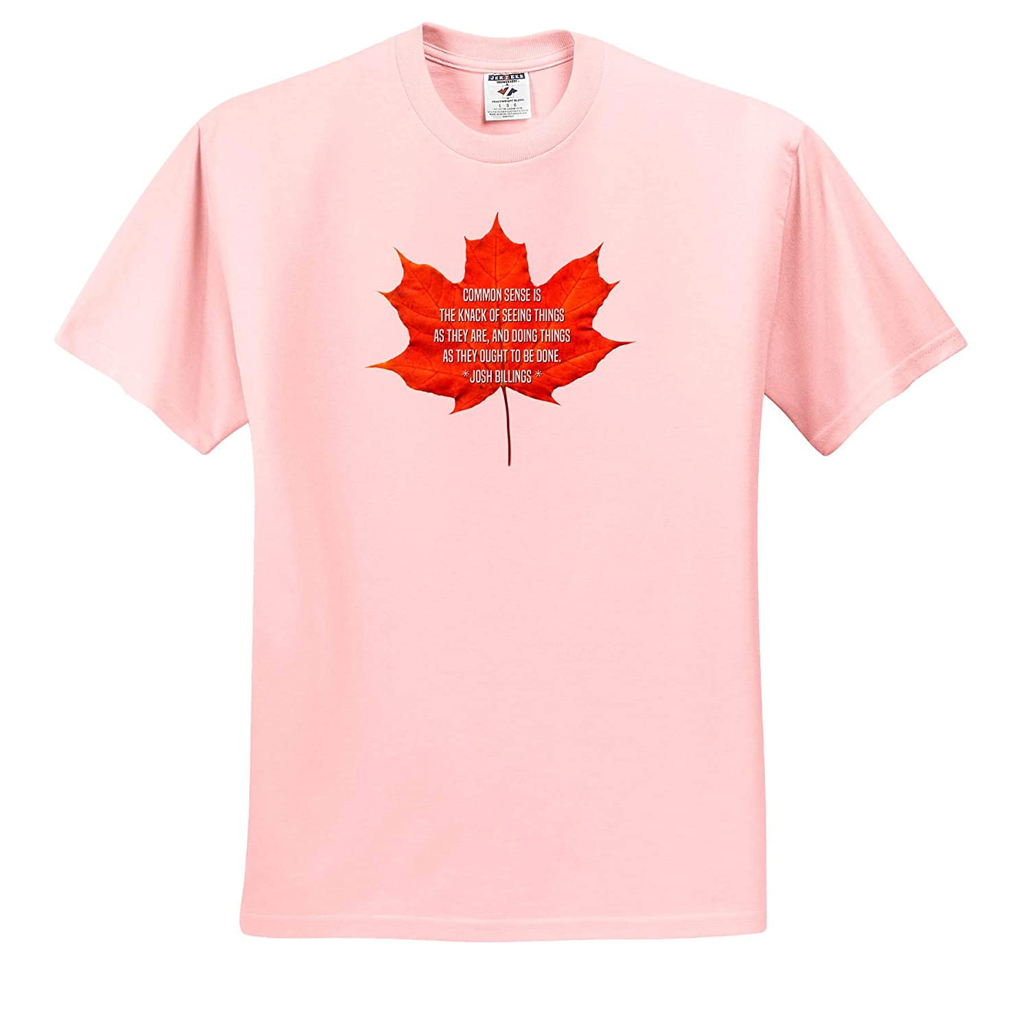Quotes Josh Billing Maple Leaf and The Text Common Sense is The Knack of Seeing Things - T-Shirts 3dRose Alexis Design