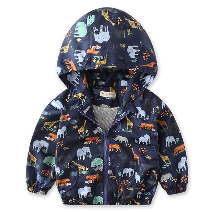 Chaqueta Bebé, ❤ Amlaiworld Abrigo de bebé para niños niñas Chaqueta de otoño Outerwear Animados Dinosaurio Rompevientos Cremallera con Capucha: ...