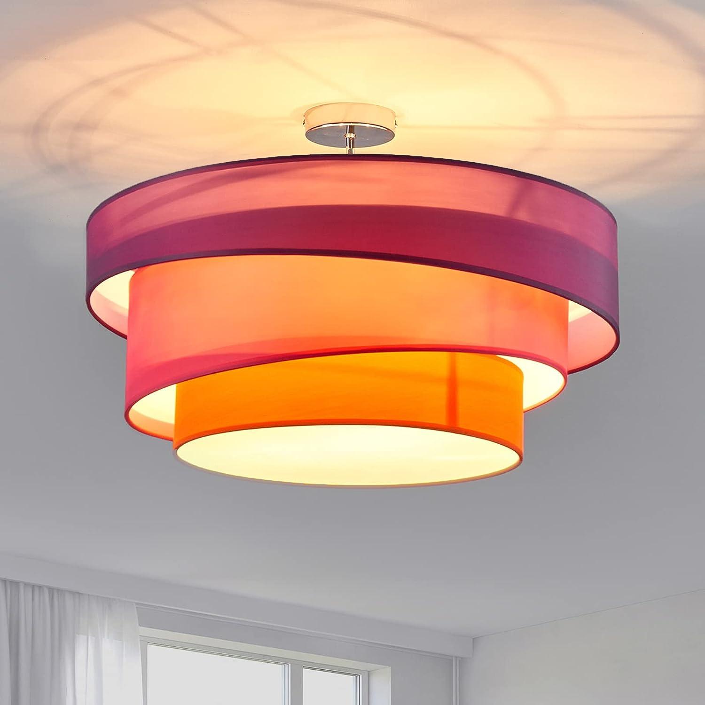 Lindby Stoff Deckenlampe rund 12 cm   12 flammig   12 Ringe   Textil  Deckenleuchte Violett, Pink, Orange   Deckenleuchte Stoff für Schlafzimmer,  ...