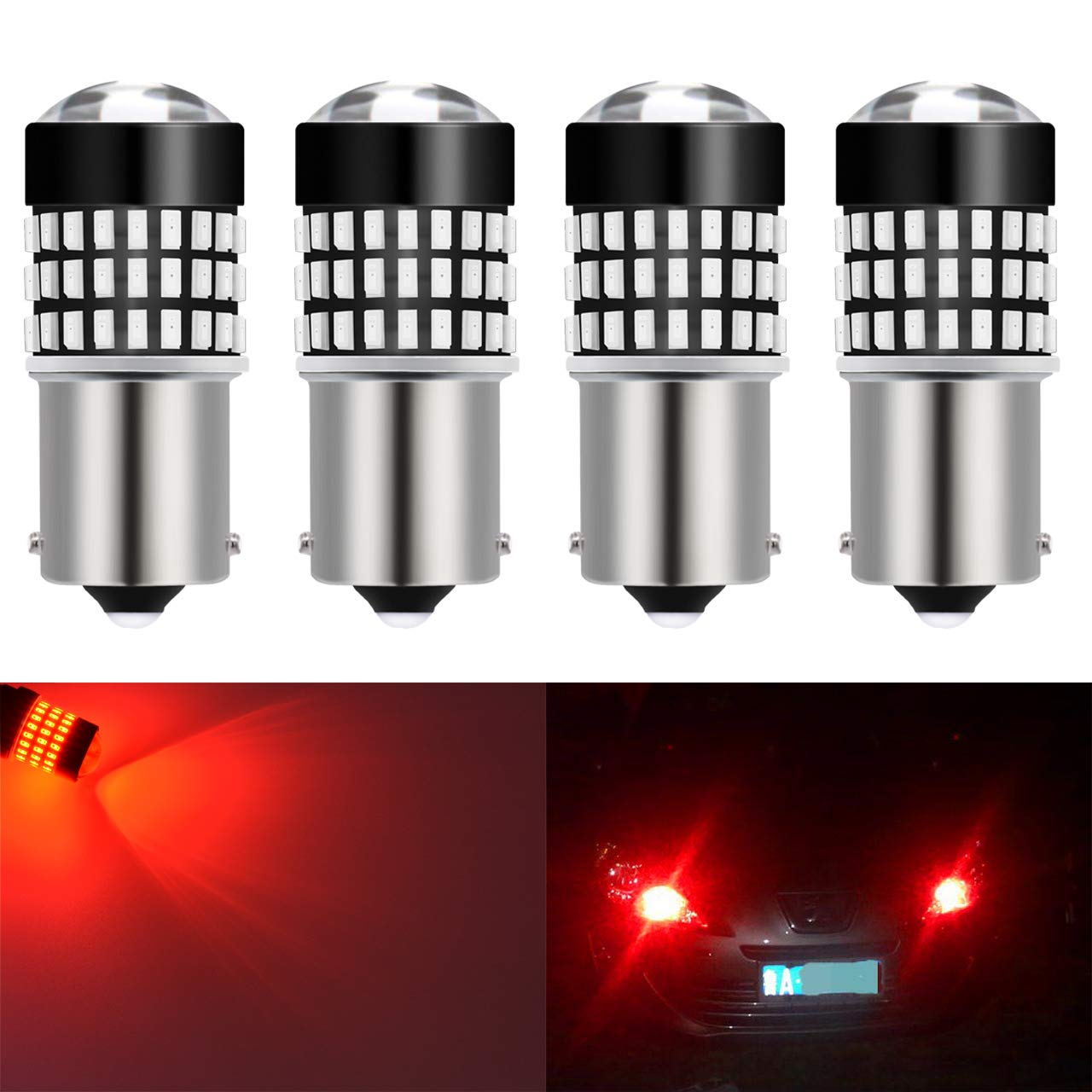 KATUR 2pcs 900 Lumens 1157 BAY15D S25 2057 2357 7528 Base Super Bright 3014 78SMD Lens LED Bulbs Brake Turn Signal Tail Backup Reverse Brake Light Lamp Amber 12V 4W