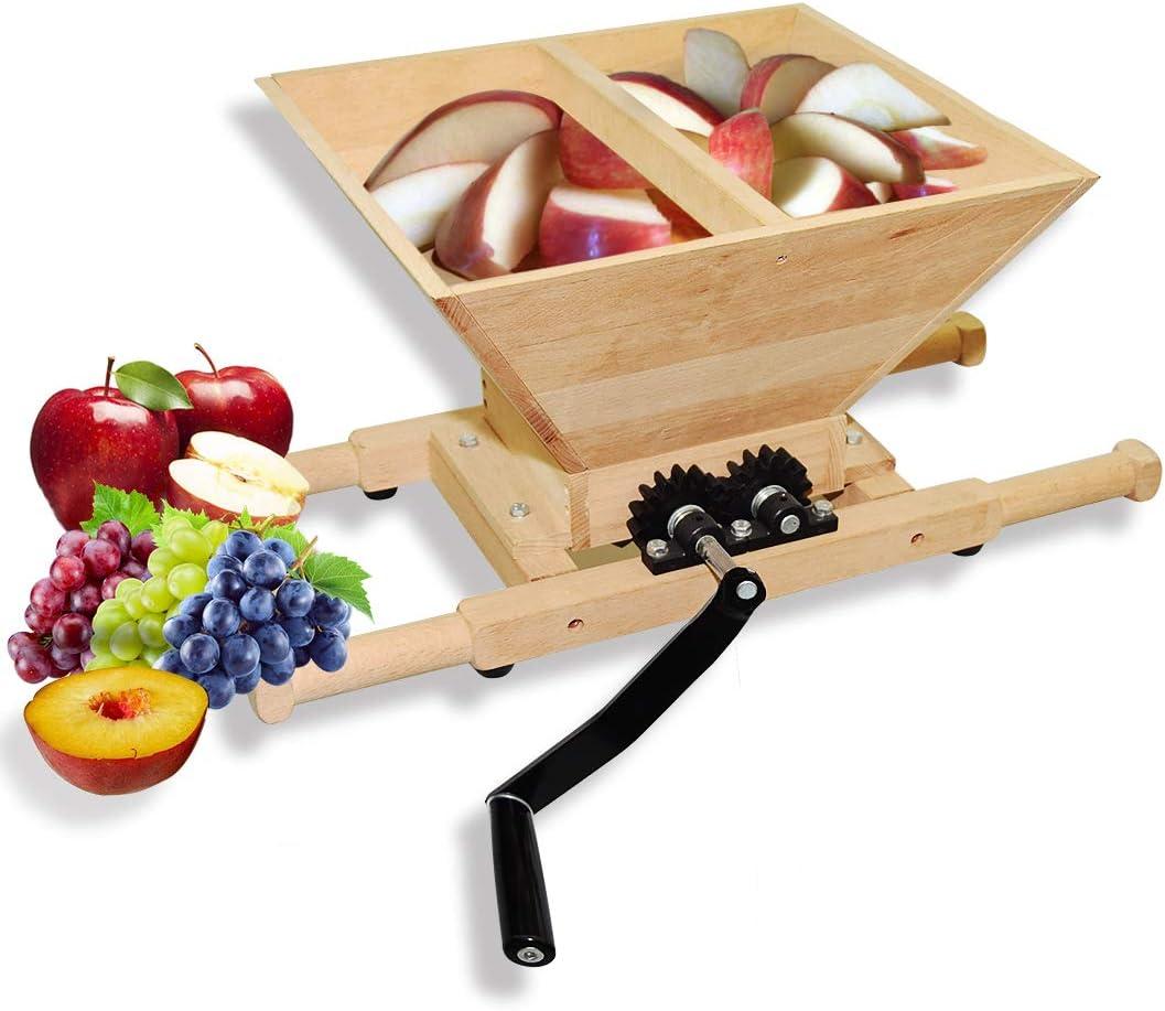 Fruit Apple Wine Manual Crusher Grinder -1.8Gallon/7 Litre Large Solid Wood- for Manual Cider Juicer Grinder & Fruit Scatter,Wine and Cider Pressing