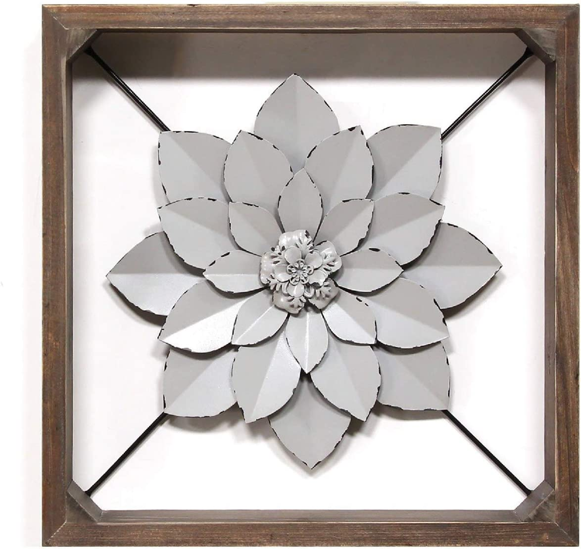 "Stratton Home Décor Stratton Home Decor Framed Metal Flower, 15.75"" W X 2.75"" D X 15.75"" H, Dark Walnut, Grey"