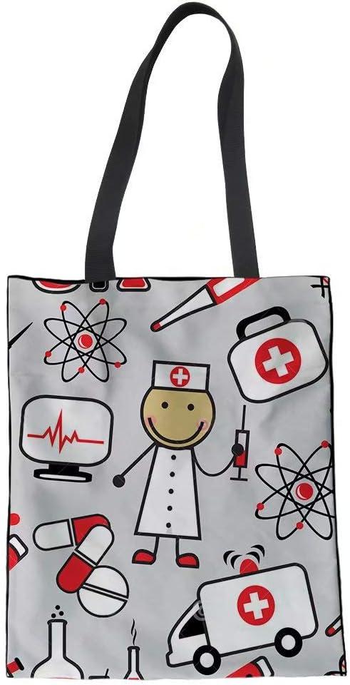 para ni/ña bolsa de tela azul lona de algod/ón POLERO Bolsa de la compra amarillo mujer enfermera 42x34cm trabajo diario bolsa de la compra bolsa de algod/ón con estampado de dibujos animados
