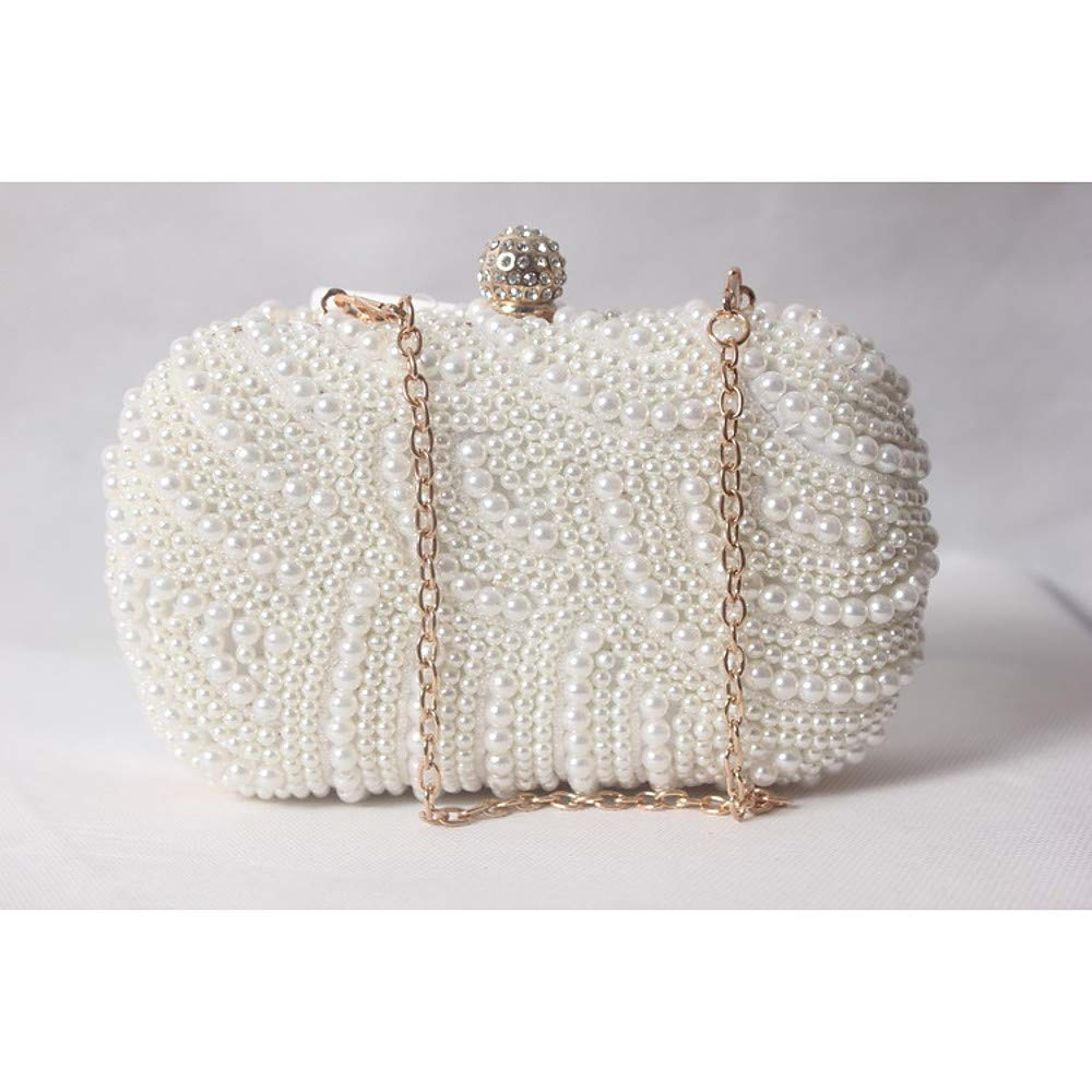 Women's Bags Satin Evening Bag Beading Pearl Imitation Pearl Solid colord WhiteBeigeRed