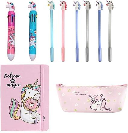 Amycute 10 piezas Set de Papelería Unicornio, Cuaderno Unicornio Bolígrafo de 10 Colores Unicorn Estuche Lápiz y Unicorn Gel Pens para Regalo de Niños Escuela: Amazon.es: Oficina y papelería