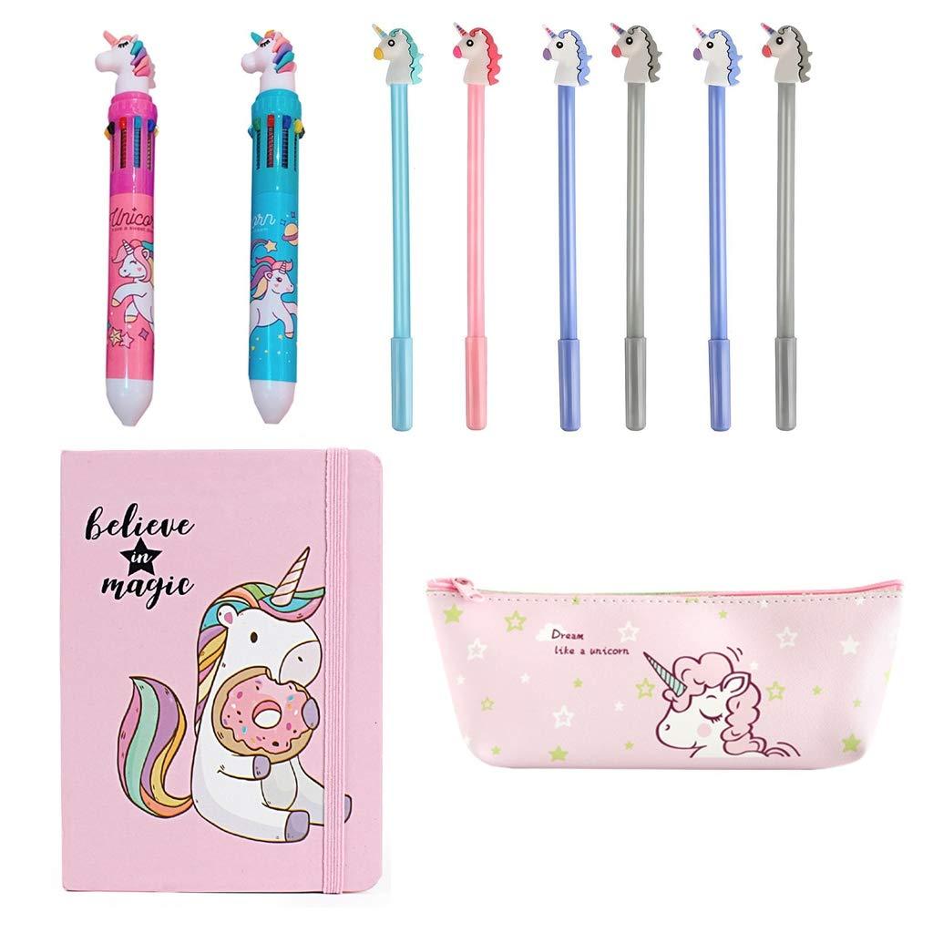 Amycute 10 piezas Set de Papeler/ía Unicornio Cuaderno Unicornio Bol/ígrafo de 10 Colores Unicorn Estuche L/ápiz y Unicorn Gel Pens para Regalo de Ni/ños Escuela