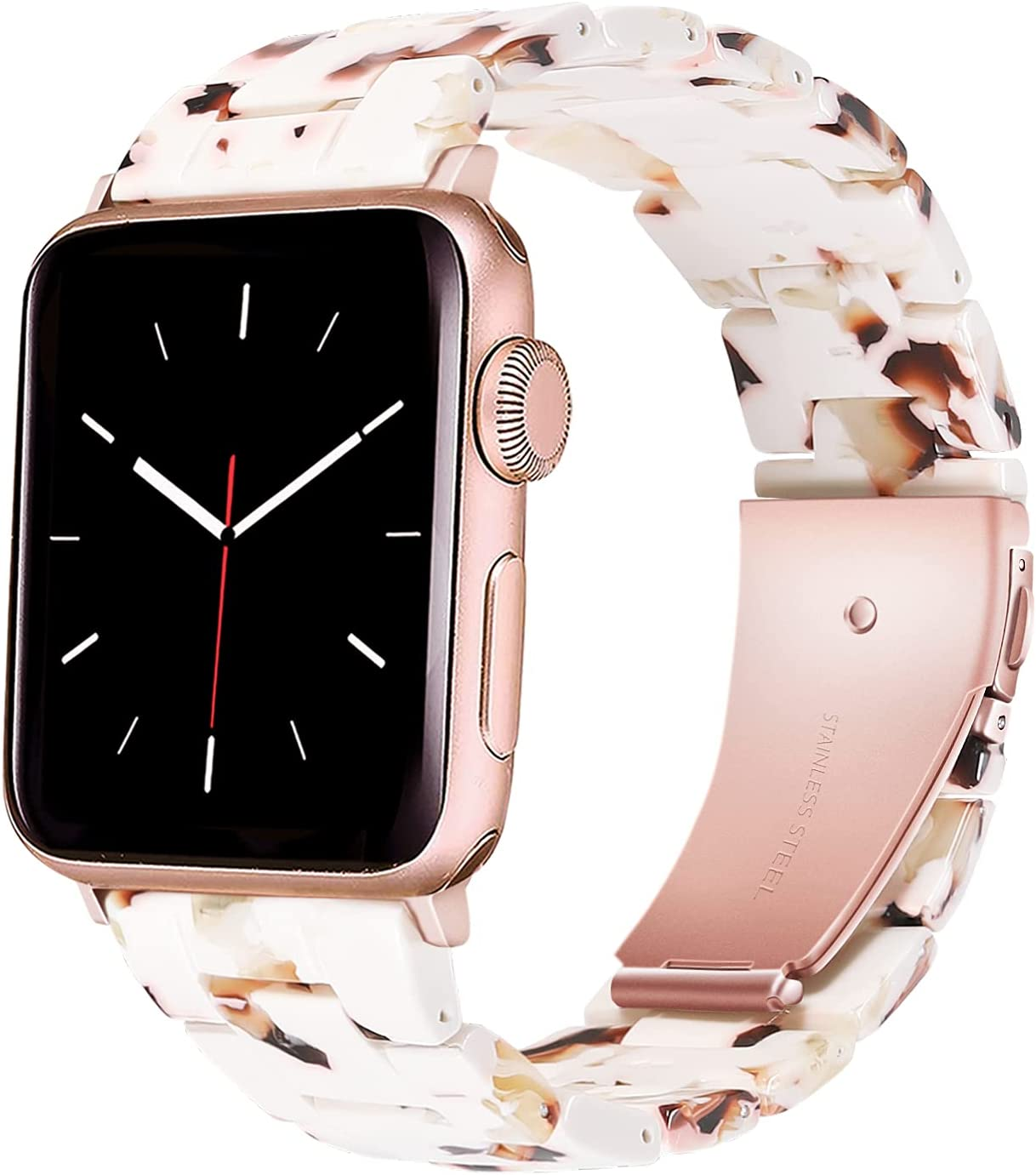 WTYUNIE Resin Band Compatible with Apple Watch Bands 38mm Women Elegant Watch Strap Girly Dressy Bracelet with Rose Gold Buckle Replacement for iWatch Band 40mm Series 6 5 4 3 2 1 SE Nougat White