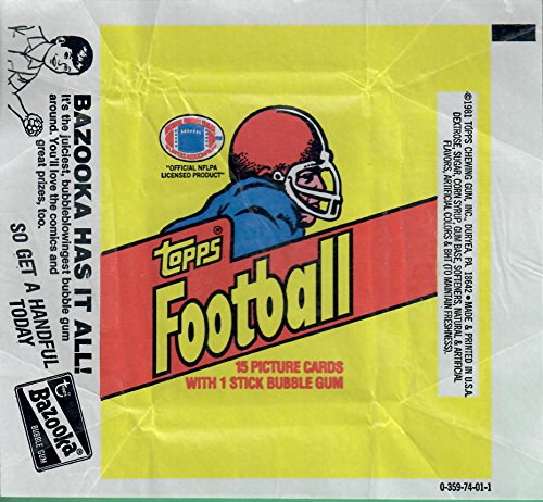 1981 Topps Football Wrapper Only(Bazooka Has It All!).4