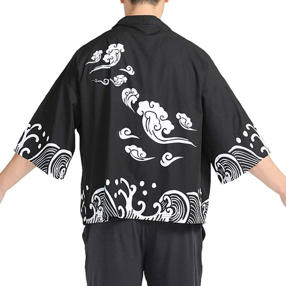 Men Japanese Yukata Coat Kimono Outwear Vintage Casual Top Black Dragon