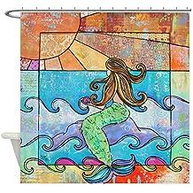 CafePress - Sunset Mermaid Beach Ocean - Decorative Fabric Shower Curtain