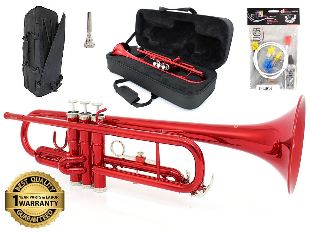 D'Luca 500RD 500 Series Standard Bb Trumpet with Professional Case, Cleaning Kit, Red Sky Blue Telemarketing Inc.